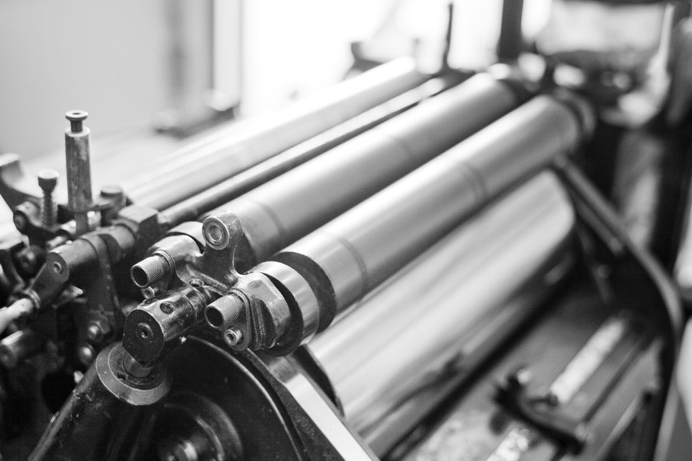 black and white picture of a printing press