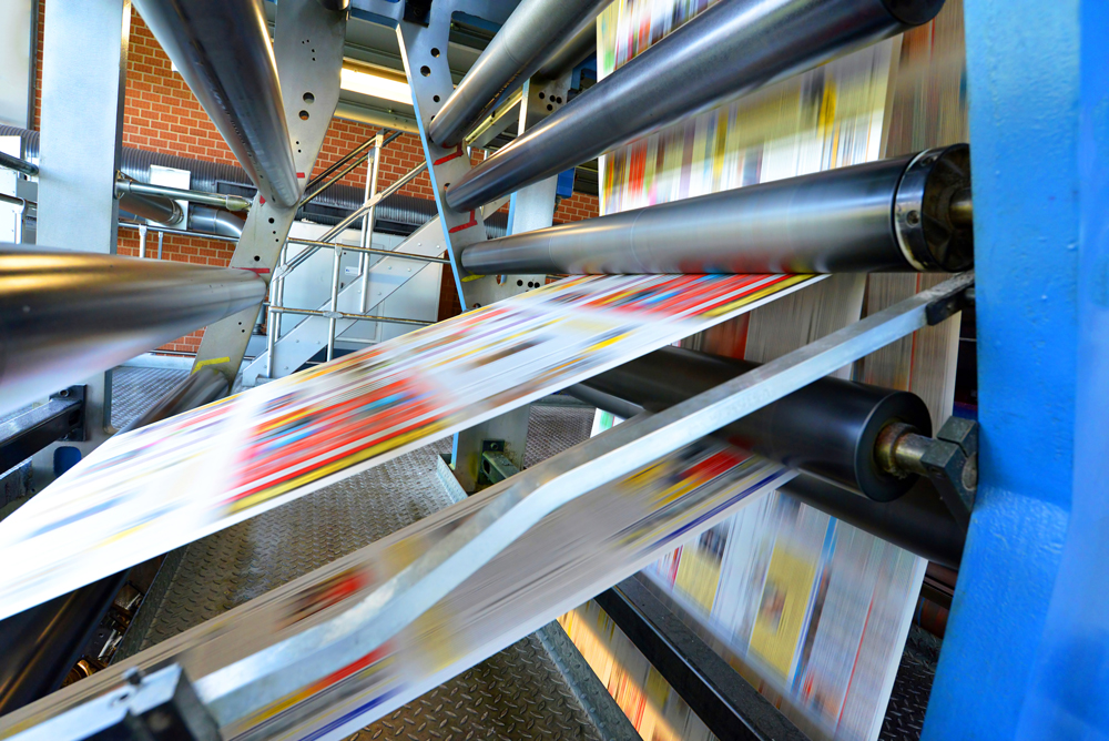 running printing press